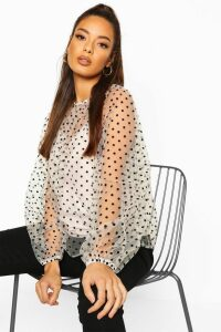 Womens Polka Dot Mesh Oversized Blouse - White - 12, White