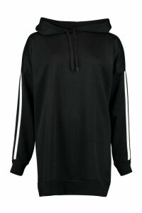 Womens Side Stripe Extreme Oversize Hoody - black - 14, Black