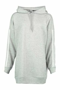 Womens Side Stripe Extreme Oversize Hoody - Grey - 16, Grey