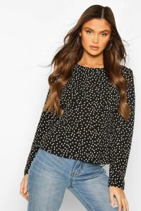 Womens Woven Polka Dot Seam Detail Blouse - Black - 14, Black