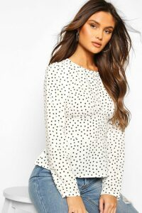 Womens Woven Polka Dot Seam Detail Blouse - White - 16, White