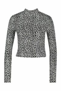 Womens Dalmation Print High Neck Longsleeve Top - black - 16, Black