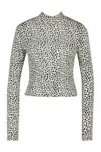 Womens Dalmation Print High Neck Longsleeve Top - White - 16, White