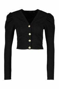 Womens Ribbed Button Front Cardigan - Black - 6, Black