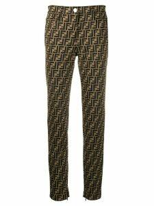 Fendi FF motif slim-fit trousers - Brown