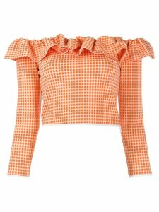 Miu Miu ruffled bardot top - ORANGE