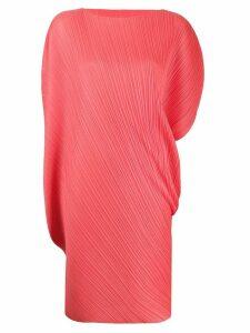Pleats Please Issey Miyake curved asymmetric sleeve pleated dress -