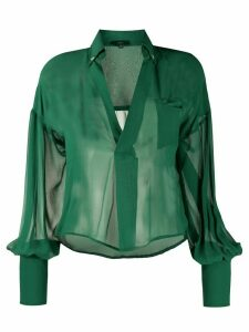 Jejia open-collar sheer blouse - Green