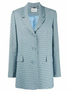 be blumarine checkered two-button blazer - Blue