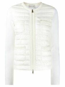 Moncler embroidered-trim collarless down jacket - White