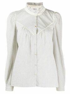 Ba & Sh striped long-sleeve shirt - White