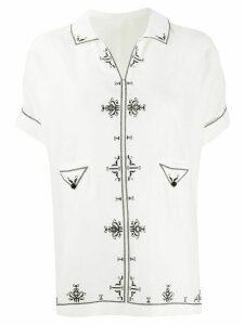 Saint Laurent embroidered short-sleeved shirt - White
