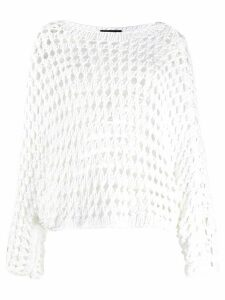 Antonelli perforated crew neck jumper - White