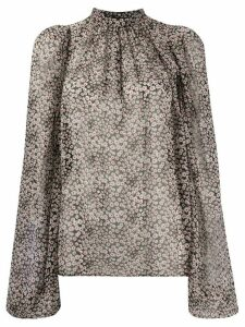 Rochas band-collar floral-print blouse - Black