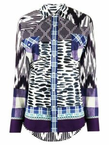 Pierre-Louis Mascia mixed-print long-sleeved shirt - Blue