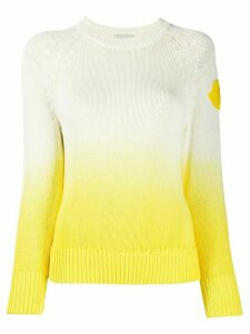 Moncler logo patch knitted jumper - Yellow