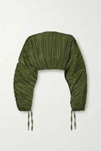 Cult Gaia - Mala Cropped Plissé Stretch-jersey Blouse - Army green