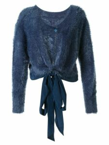 Taylor Periphery tied cropped cardigan - Blue