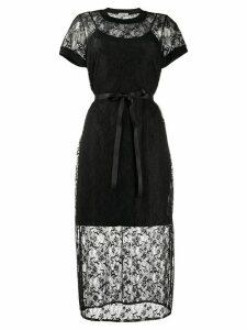 Twin-Set lace layered midi dress - Black