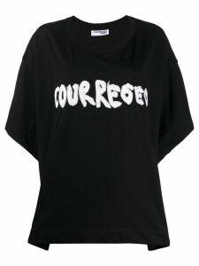 Courrèges appliqué logo boxy T-shirt - Black
