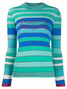 Giada Benincasa Pensami Sempre embroidered striped jumper - Blue
