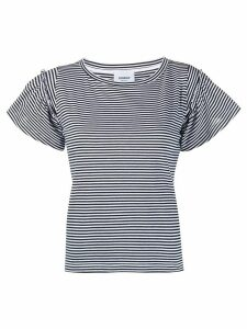 Dondup striped ruffled T-shirt - Black