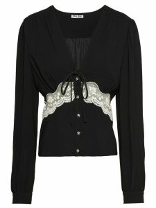 Miu Miu lace insert longsleeved top - Black
