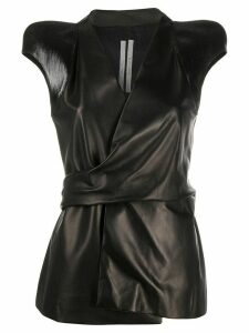 Rick Owens contrast structured shoulder leather wrap top - Black