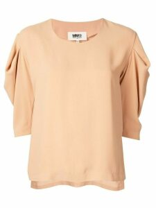 Mm6 Maison Margiela draped sleeve top - Brown