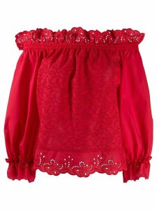 Ermanno Scervino broderie anglaise off-the-shoulder top - Red