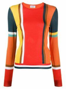 Salvatore Ferragamo colour-block slim-fit jumper - ORANGE