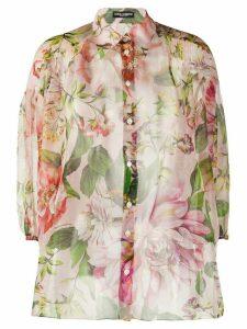 Dolce & Gabbana floral-print sheer shirt - PINK