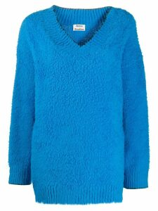 Acne Studios brushed oversized V-neck jumper - Blue