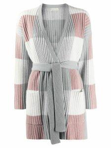 Etro colour block waist-tied cardigan - Grey