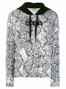 DKNY snakeskin print cotton blend hoodie - White