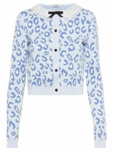 Miu Miu leopard print cardigan - Blue