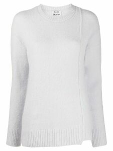Acne Studios asymmetric hem crew neck jumper - Blue
