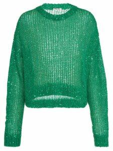 Miu Miu sequin-embellished mesh-knit jumper - Green