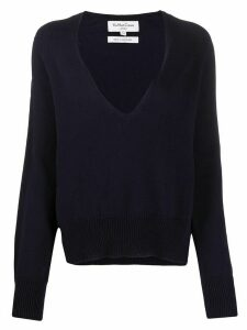 YMC V-neck cotton jumper - Blue