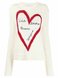 Giada Benincasa metallic heart design knitted jumper - White