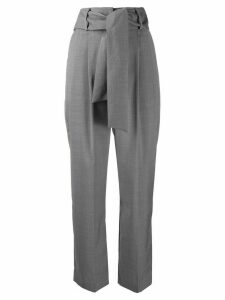 MSGM high-rise pleated tie-waist trousers - Grey