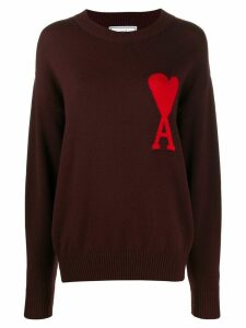 Ami Paris Woman Ami De Coeur Intarsia Oversize crew neck Sweater - Red
