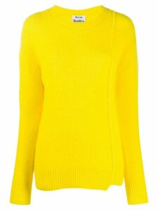 Acne Studios asymmetric hem crew neck jumper - Yellow