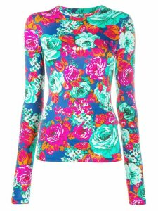 MSGM rose-print long-sleeved top - Blue