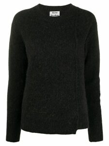 Acne Studios asymmetric hem crew neck jumper - Black