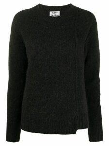 Acne Studios asymmetric hem crewneck jumper - Black