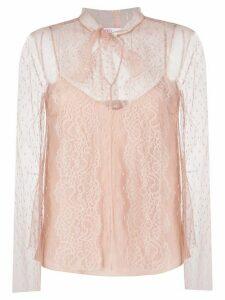 RedValentino polka dot mesh blouse - NEUTRALS