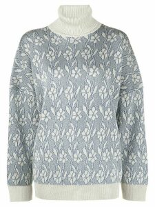 Acne Studios metallic flower-jacquard jumper - Blue