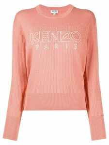 Kenzo beaded-logo textured sweater - PINK