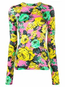 MSGM rose-print long-sleeved top - PINK